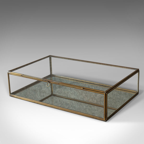 Vintage Glass Display Case, English, Brass, Showcase, 20th Century, Circa 1980