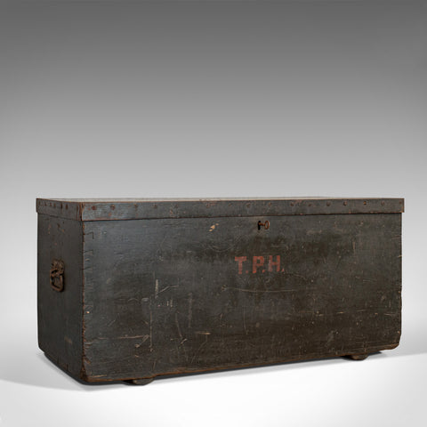 Antique Joiner's Chest, English, Pine, Craftsman's Trunk, Victorian, Circa 1850