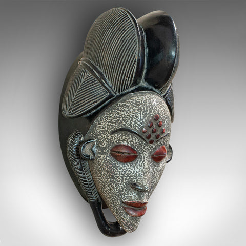 Vintage Gabonese Punu Mask, African, Tropical Hardwood, Decorative, Tribal, 1970