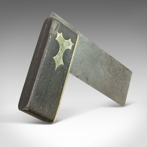 Antique Carpenter's Square, Scottish, Ebony, Brass, Tool, Victorian, Circa 1900