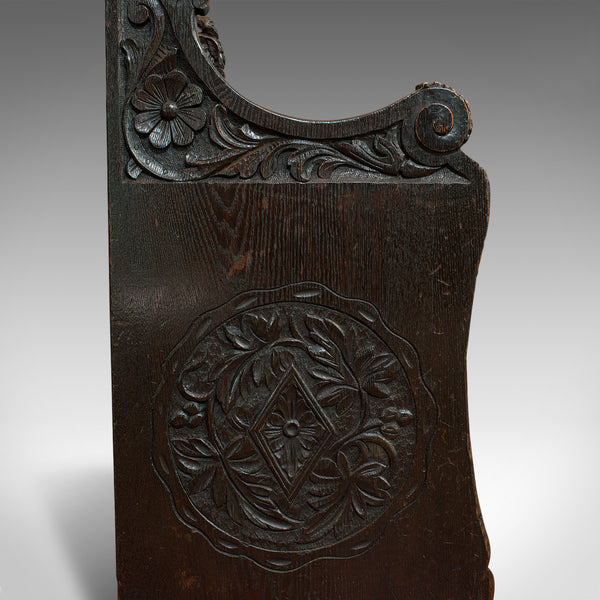 Antique Hall Seat, Scottish, Oak, Settle, Gothic Revival, Victorian, 1880