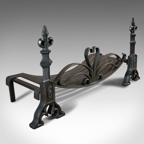 Antique Fireplace Set, English, Fire Grate, Andirons, Art Nouveau, Victorian