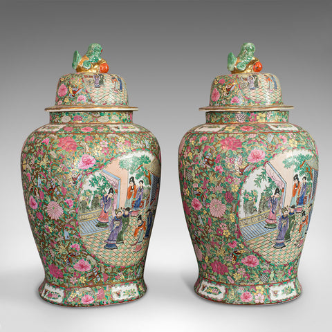 Pair Of, Large Vintage Baluster Urns, Oriental, Ceramic, Art Deco, Circa 1940