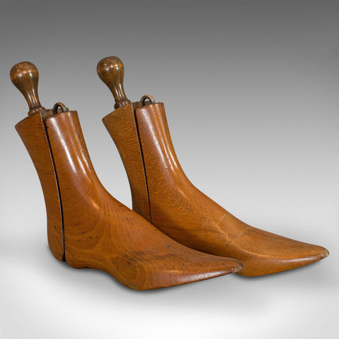Pair Of Antique Shoe Lasts, English, Beech, Shoemaker's Last, Edwardian, 1910