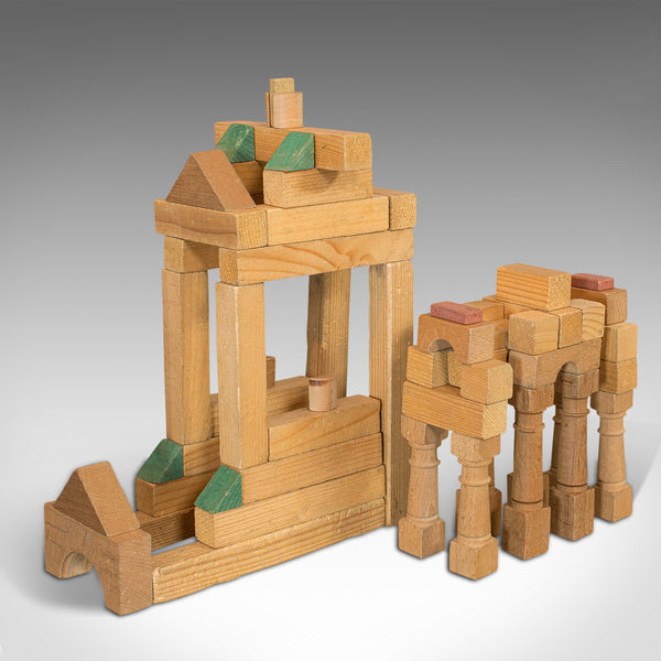 Antique Building Block Set, German, Pine, Froebel, Toy Box, Edwardian, C.1910