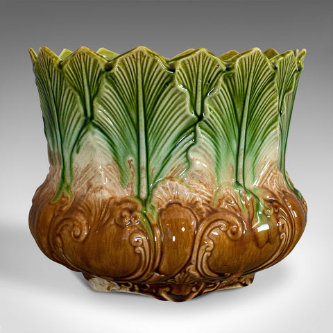 Antique Planter, English, Majolica, New Leaf, Jardiniere, Art Nouveau, Victorian