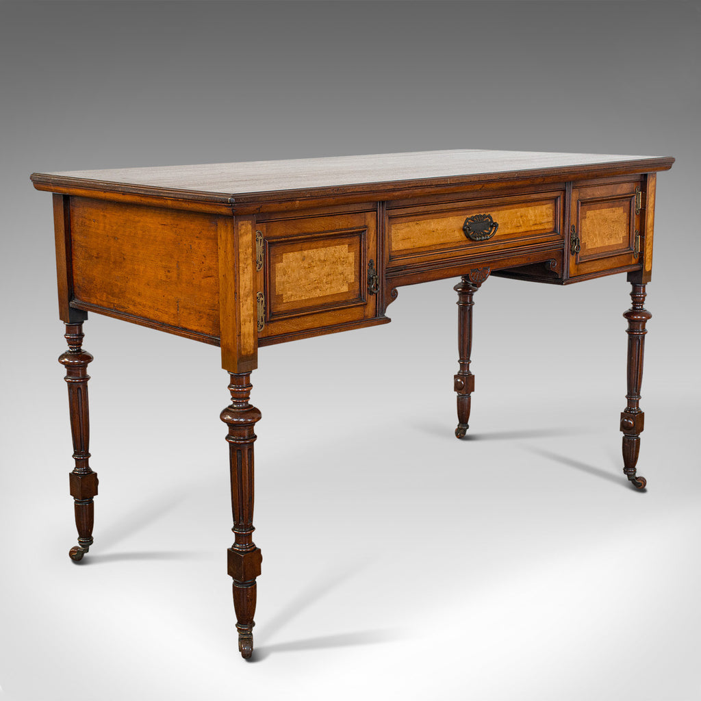 Antique Writing Desk, English, Walnut, Table, James Shoolbred, Victorian, 1880