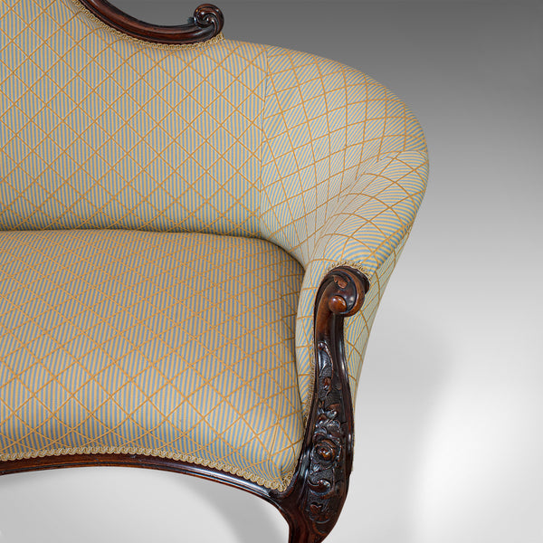 Antique Spoon Back Sofa, English, Walnut, 2 Seat Settee, Early Victorian, 1840