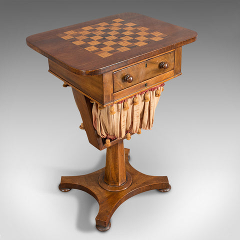 Antique Games Table, English, Mahogany, Chess, Workstation, Victorian, 1860