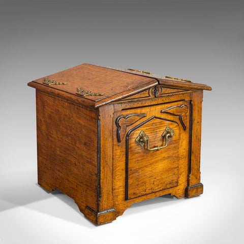 Antique Purdonium, Scottish, Oak, Brass, Fireside, Coal Bin, Victorian, C.1870