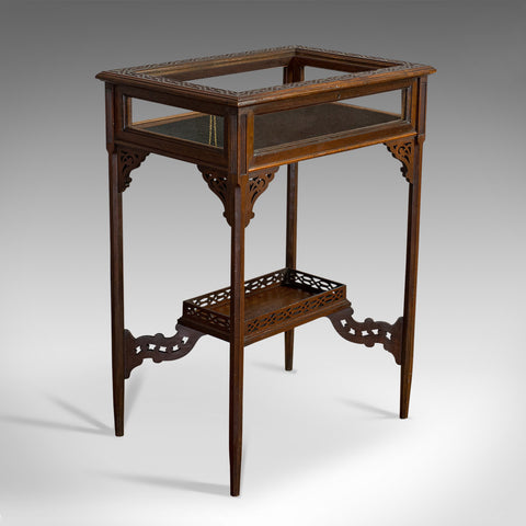 Antique Bijouterie Table, English, Walnut, Glass, Display, Edwardian, Circa 1910