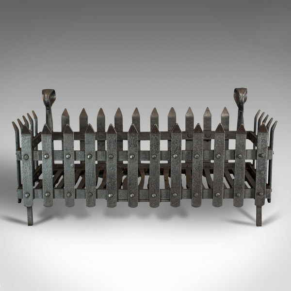 Antique Fire Grate, English, Wrought Iron, Fireside Basket, Victorian, C.1880
