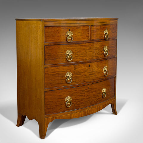 Antique Bow Front Chest of Drawers, English, Mahogany, Tallboy, Victorian, 1870