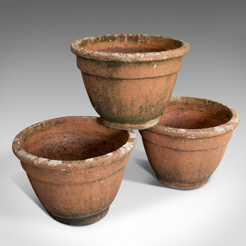 Set of 3 Vintage Planters, English, Terracotta, Large Garden Plant Pot, C.20th