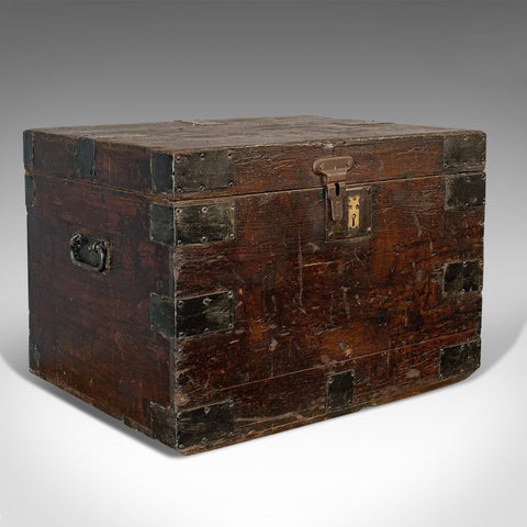 Antique Carriage Chest, English, Pine, Bound Travel Trunk, Victorian, Circa 1900