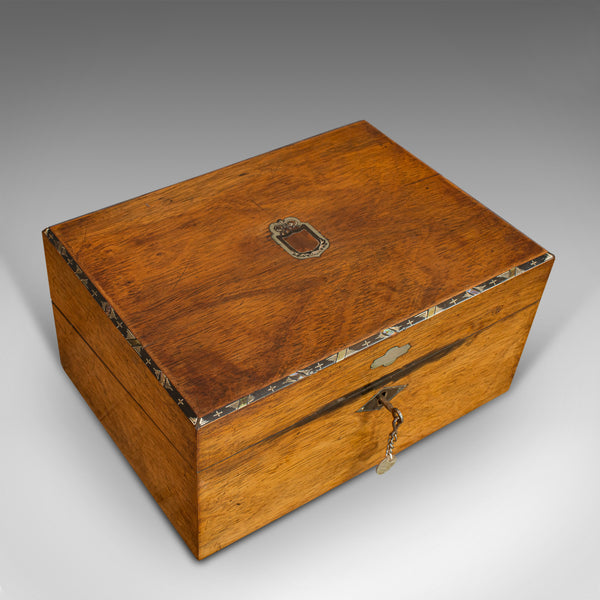 Antique Writing Slope, English, Rosewood, Leather, Pen Box, Victorian, C.1880
