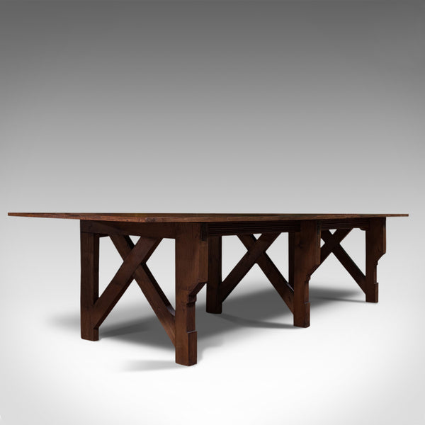 Large 12' Antique Kitchen Table, English, Pine, Industrial, Victorian, 1900