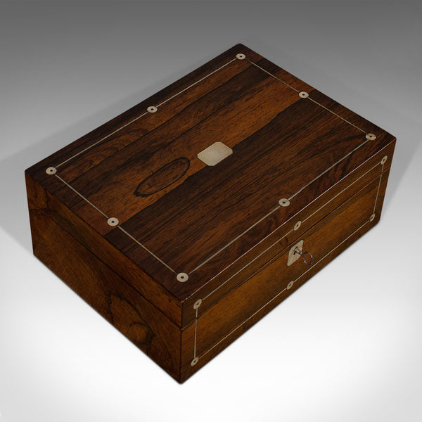 Antique Jewellery Box, English, Rosewood, Mother of Pearl, Sewing, Victorian