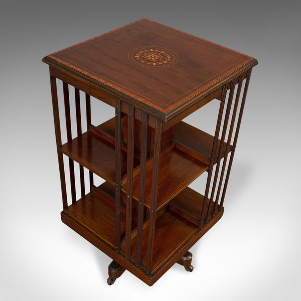 Antique Revolving Bookcase, English, Mahogany, Rotating Library, Edwardian, 1910