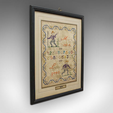 Antique Framed Sampler, English, Cross-Stitch, Apprentice, Victorian, Dated 1896