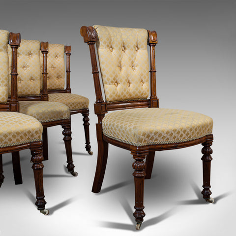 Set Of 4 Antique Chairs, Scottish, Walnut, Suite, Dining, Victorian, Circa 1890