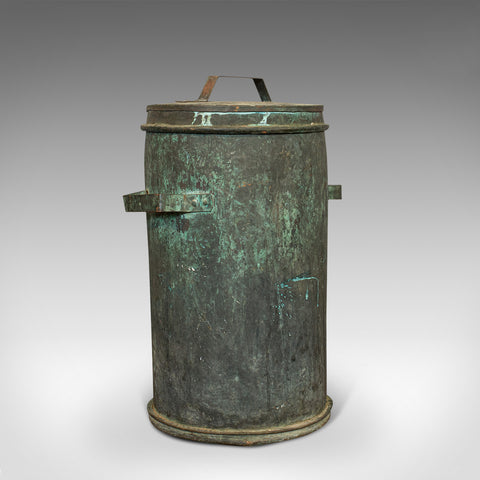 Antique Grain Bin, French, Copper, Farmhouse Silo, Fireside, Victorian, C.1890