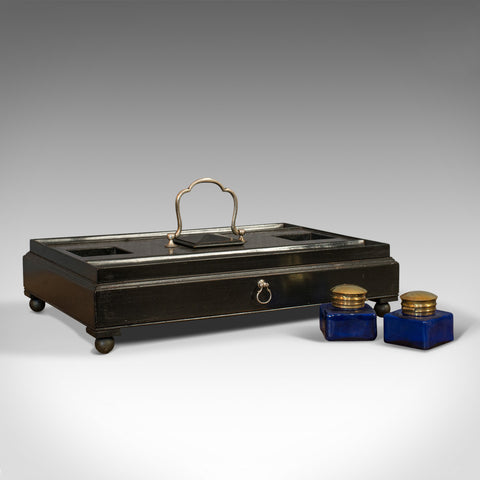 Antique Double Ink Well, English, Mahogany, Desk Tidy, Aesthetic Period, 1880