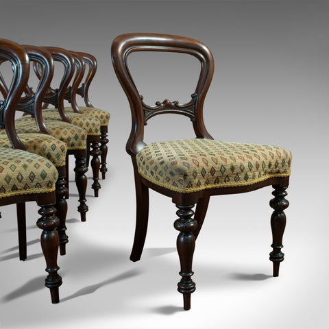 Antique Set of 6 Dining Chairs, English, Walnut, Balloon Back, Victorian, C.1850