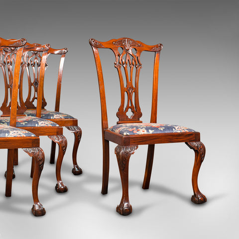 4 Antique Dining Chairs, English, Mahogany, Seat, After Chippendale, Victorian