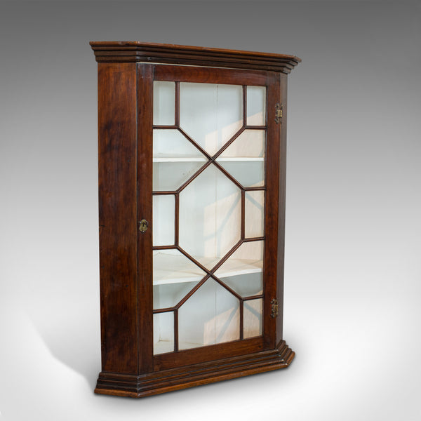 Antique Corner Cabinet, English, Walnut, Cupboard, Astragal Glazed, Georgian