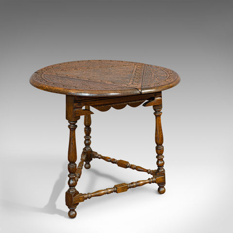 Antique Cricket Table, English, Oak, Drop Leaf, Lamp, Occasional, Edwardian