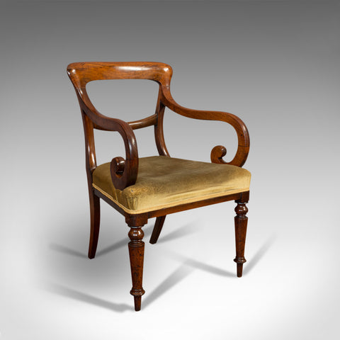 Antique Serpentine Arm Chair, English, Mahogany, Elbow Seat, Regency, Circa 1820