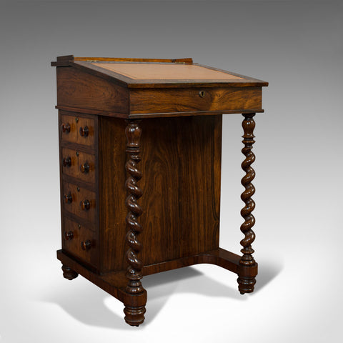 Antique Davenport, English, Rosewood, Satinwood, Writing Desk, Victorian, C.1880