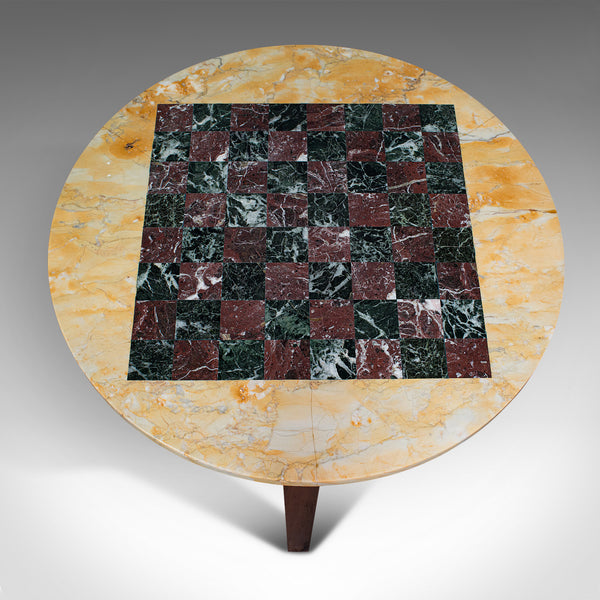 Antique Marble Chess Table, English, Mahogany, Game Board, Edwardian, Circa 1910