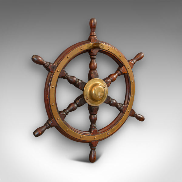 Vintage Ship's Wheel, English, Oak, Brass, Decorative, Maritime, Display, 1950