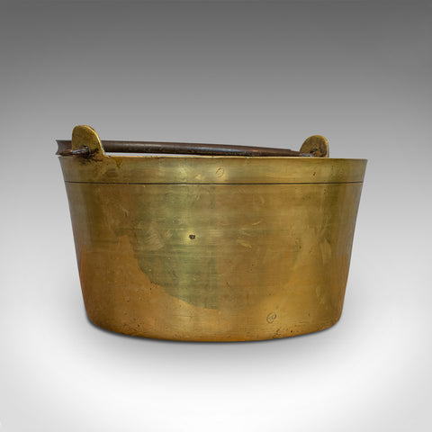 Antique Jam Pan, French, Solid Brass, Artisan Kitchen Pot, Victorian, Circa 1900