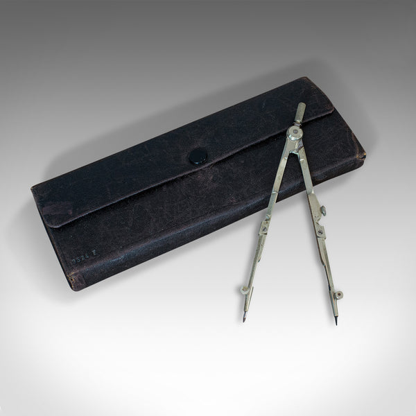 Vintage Travelling Surveyor's Set, English, Pocket Drawing Instrument Case, 1930