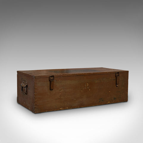 Large Vintage Carriage Chest, Welsh, Pine, Linen Trunk, 20th Century, C.1950