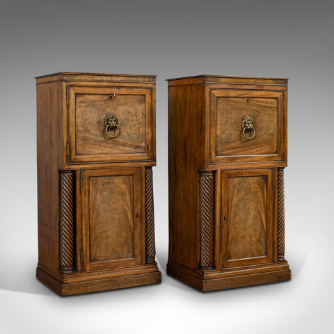 Tall, Antique, Pair of, Side Cabinets, English, Mahogany, Nightstand, Regency