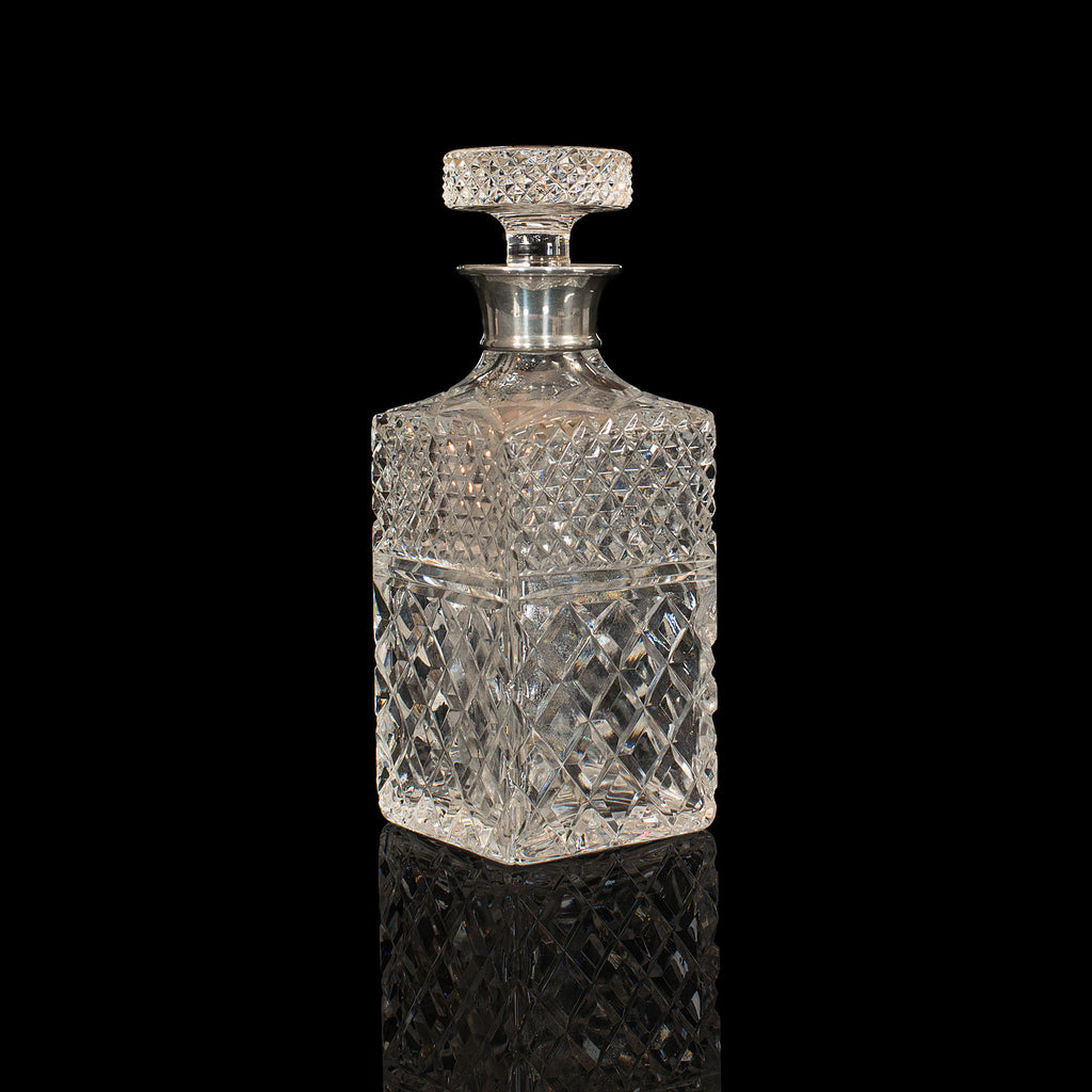 Vintage Decanter, English, Cut Glass, Silver Collar, London, Hallmark, 1971