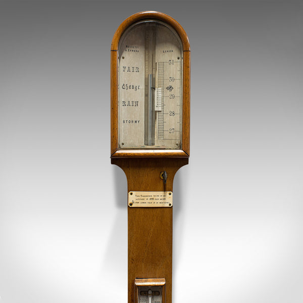 Antique Stick Barometer, Walnut, Scientific Instrument, Negretti & Zambra, 1900
