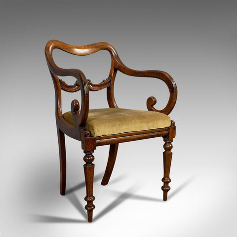 Antique Scroll Arm Chair, English, Mahogany, Buckle Back, Seat, William IV, 1835