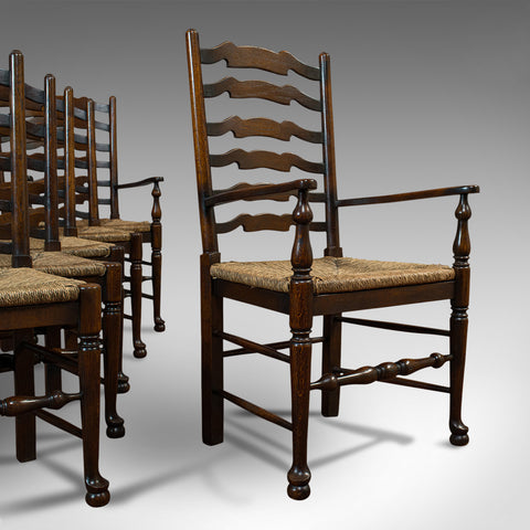 Set of 6, Antique Ladderback Dining Chairs, Oak, Rush Seat, Carver, Edwardian