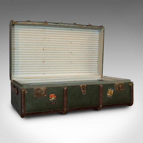 Large Antique Steamer Chest, English, Canvas, Travel Trunk, Drawco, Edwardian