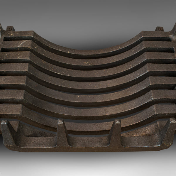 Vintage Fireplace, English, Cast Iron Fire Grate, Steel Andirons, Art Deco, 1940