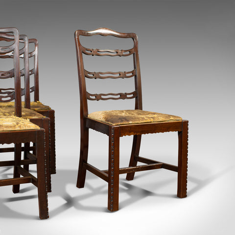 Set of 4, Antique Ladder Back Chairs, Irish, Mahogany, Dining Seat, Victorian