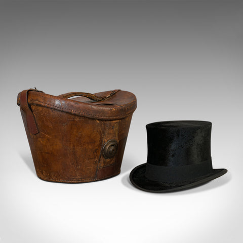 Antique Hat Box, English, Leather, Case, Silk Top Hat, Dunn, Regency, Circa 1820
