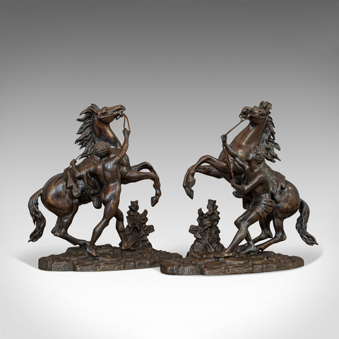 Antique, Pair, Marly Horses, French, Bronze, Equestrian, Statue, After Coustou