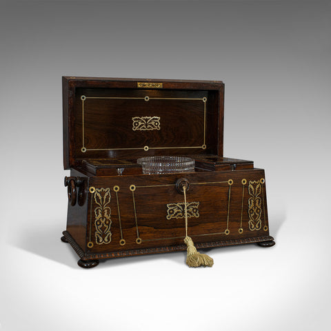 Antique Tea Caddy, English, Rosewood, Chest, Thomas of London, Regency, C.1820