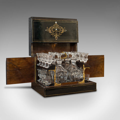 Antique Napoleon III Liquor Cellar, French, Liqueur Box, Glass Decanters, 1830